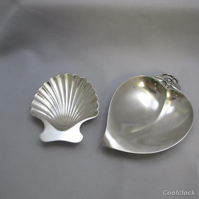 2 Pc Lot Tiffany & Co. Sterling Silver Trinket Dishes Apple & Shell Dish #AD315