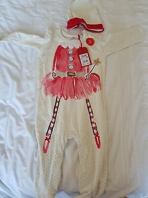 Next  Sleepsuit Baby grow Christmas Outfit Age 9-12 Months Bnwt Plus Hat
