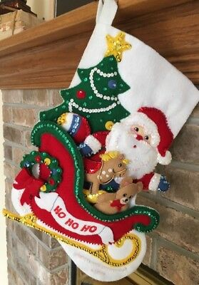 Bucilla Felt Applique Christmas Stocking Finished Completed Ho Ho Santa's Sleigh