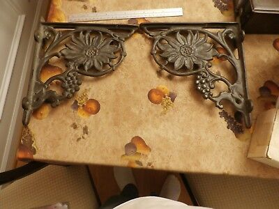 Vintage Flower / Grapes RUSTIC Shelf Brackets 1 Pair 11 x 9 inches