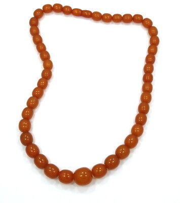 Vintage RARE Genuine BAKELITE Honey Butterscotch Amber Bead Strand Necklace