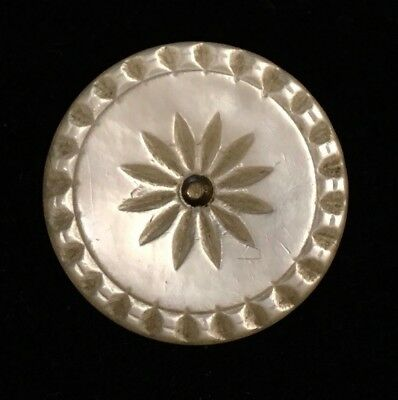 """Antique Etched Colonial Pearl Button, Radiating Design, Pinshank 1"""""""