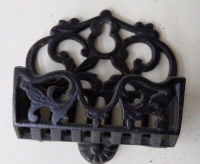 FANCY WALL HANGING CAST IRON MATCH SAFE Ca 1860s .