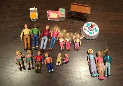 Fisher Price Mattel Loving Family, LBC, lot Figures People Furniture