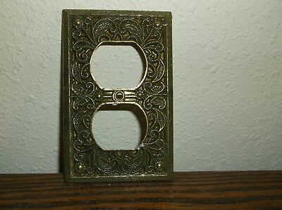 Vintage Ornate Brass Colored Outlet Plug Plate Switch Cover Floral Ornate