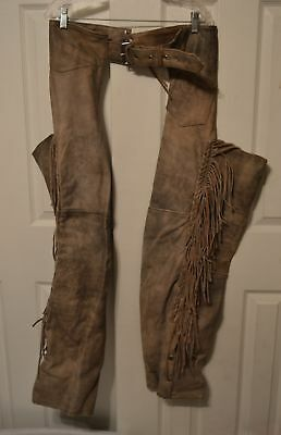 Leather Motorcycle FRINGE Chaps Antelope Creek Borger Texas Size XL Made In USA