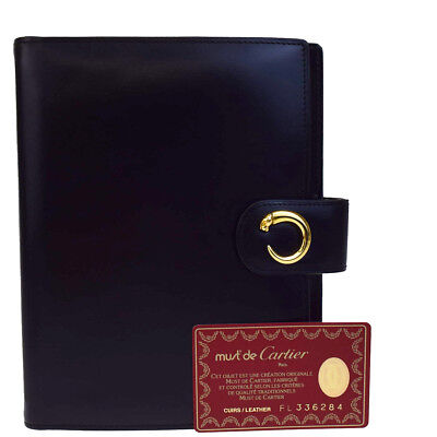 Authentic CARTIER Logos Panther Agenda Notebook Cover Leather Black 04B1973