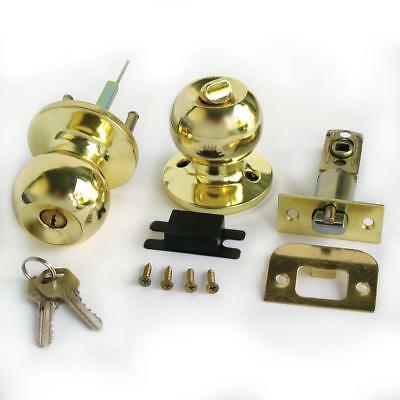 Stainless Gold Color Keyed Entry Rotation Round Door Knobs Entrance Lock