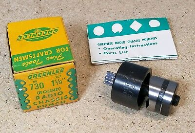 "Greenlee No. 730 - 1 1/8"" diameter punch and die set - radio chassis punch"