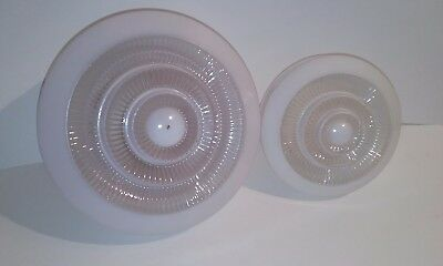 2 Vintage Clear & Frosted Glass Light Fixture Shade Globe Ceiling Lamp Cover