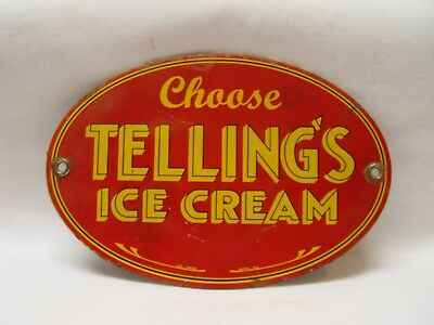 """Choose TELLING'S Ice Cream 5.75"""" Long Oval Porcelain Advertising Door Push Sign"""