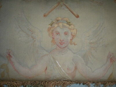 Antique 19Th C Tapestry Cherub, Angel Holding Olive Branch Pillow Stunning!