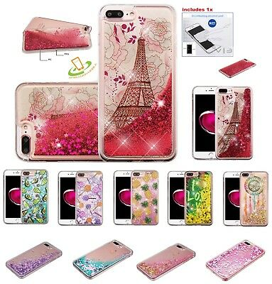 Apple iPod Touch 5 6 Gen Bling Hybrid Quicksand Liquid Glitter Rubber Case + Kit