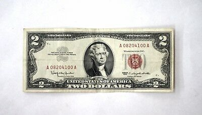 1963 $2 Two Dollar Bill United States Note Red Seal U.S. A Series A08204100A