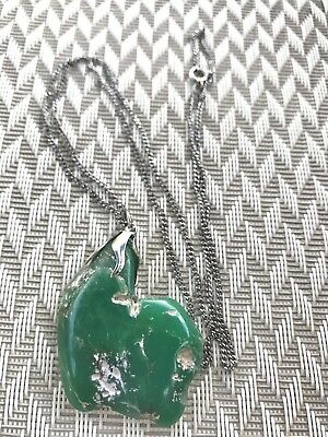 Jade Chunky Necklace Statement Piece Silver  Chain Vintage