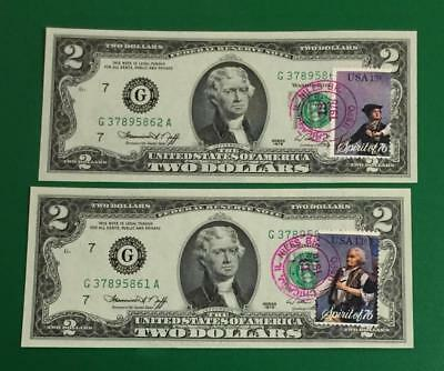 1976 $2 Choice Crisp Uncirculated First Day Issues Chicago Consecutives X862