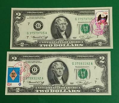 1976 $2 Choice Crisp AU/Uncirculated First Day Issues Chicago Set of 2! X705
