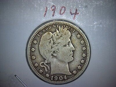 1904 Barber or Liberty Head Silver Quarter Circulated