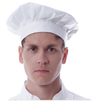 Men & Women Adult Chef Hat White Elastic Baker BBQ Kitchen Cooking Pleated Caps