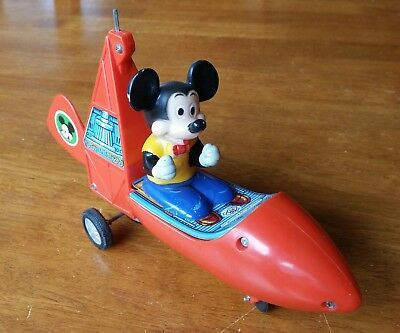 Vintage Modern Toys Made in Japan:  Mickey Mouse Tin Gyrocopter (Parts/Repair)