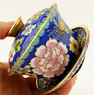 beautiful Chinese Cloisonne Enamel Blue Teacup Bowl Lid Collectible Cultural
