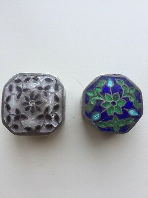 Sterling Silver 925 Antique Colorful  vtg Pill Box
