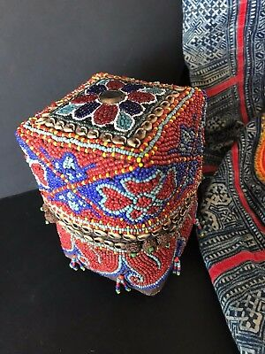 Old African Woven & Beaded Keepsake Box …beautiful collection and accent piece