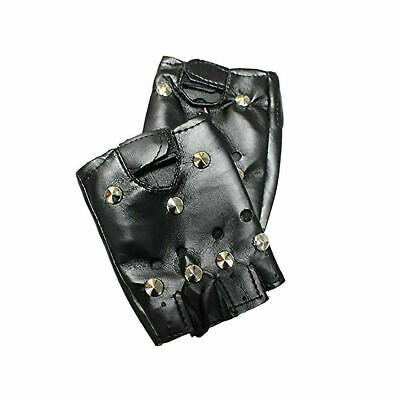 Unisex Punk Soft Leather Driving Biker Studded Fingerless Motorcycle Gloves