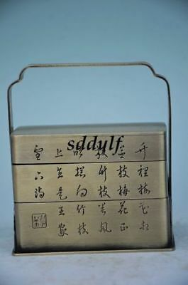 CHINESE CONTAINER SILVER PINTO 3 STACK LUNCH BOX TIFFIN COLLECTIBLE zrf