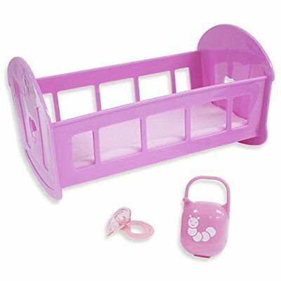 JC Toys 81435 3-Piece Pink Baby Doll Rocking Crib Gift Set Fits Most Dolls up...