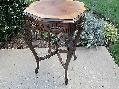 Antique Carved French Style Walnut Side Table With Inlay Top (Restored)