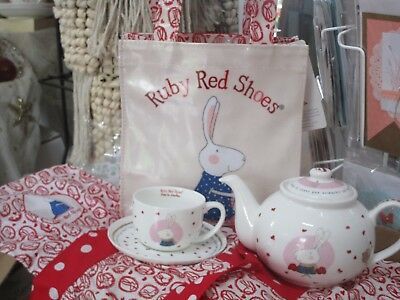 FINE CHINA Child's CUP AND SAUCER - RUBY RED SHOES GOES TO LONDON by KATE KNAPP