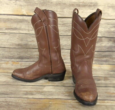 93238e4a650ad VINTAGE COWBOY BOOTS Brown Leather Mens Size 8 D Country Western Rockabilly