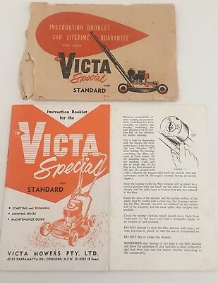 Victa Mower Special And Standard Original Owners Manual And Envelope 1950's