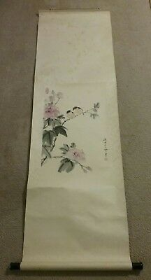 vintage japanese chinese scroll painting birds