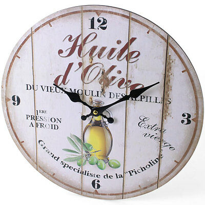 French Rustic Style Shabby Chic Olive Oil Kitchen Wall Clock - NEW IN BOX
