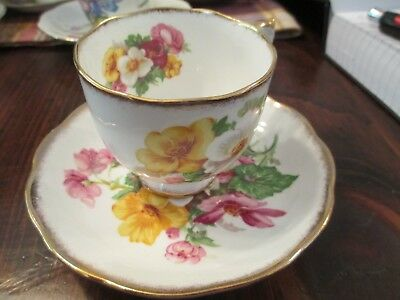 """Roslyn """"Summer Bearty"""" cup and saucer bone china white with pink  yellow"""