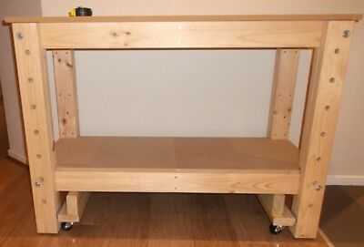 Heavy Solid Timber Work Bench 1240 x 600 x 870 high wheels mobile or on floor