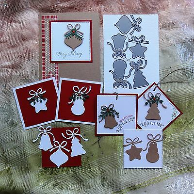 """""""clearance"""" Impression Obsession Christmas Shaped Tags Cutting Dies 5 Pce - Bnip"""