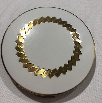 Vintage White and Gold stratton compact 70s-80s