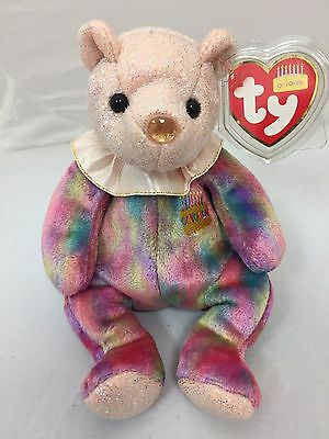 "TY Birthday Beanie Baby - 2001 October ""Opal"" Bear - Mint w Mint Tag"