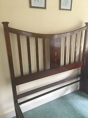 Tall Antique Edwardian Mahogany Inlaid Double Bed & Base