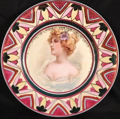 "c1890 PMS Bavaria China Royal Vienna Line 9 1/2"" Art Nouveau Portrait Plate"