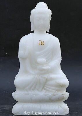 China Natural White Jade Hand Carved Buddhism Shakyamuni Amitabha Buddha Statue