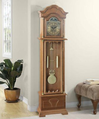 Longcase Grandfather Clock Antiqued Traditional Wooden Glass Door Gold Finish