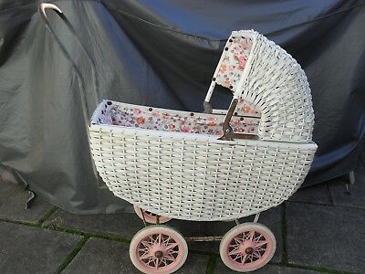Vintage Wicker Dolls Pram - Pick-Up Or Sent At Buyers Expense
