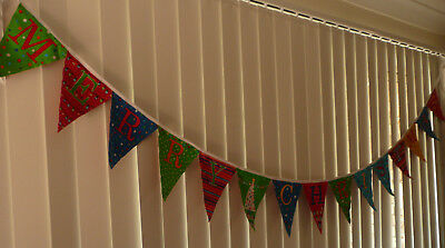 Merry Christmas Message Bunting Flags Banners - Bright colours