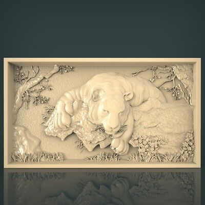 (1048) STL Model Tiger for CNC Router 3D Printer Artcam Aspire Bas Relief