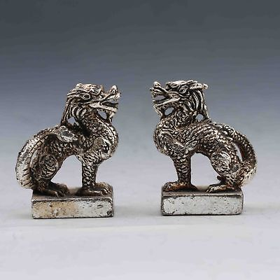 A PAIR ORIENTAL VINTAGE SILVER COPPER HANDMADE CARVED UNICORN SEAL zrf