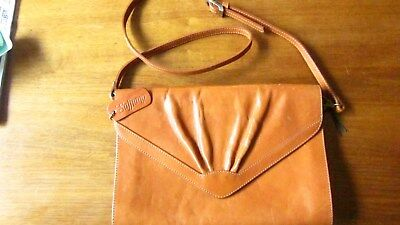 Saffiano Italy vintage tan leather satchel style shoulder bag. Preloved